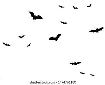 Horror black bats group isolated on white vector Halloween background. Flittermouse night creatures illustration. Silhouettes of flying bats traditional Halloween symbols on white.