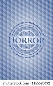 Horror blue badge with geometric pattern.