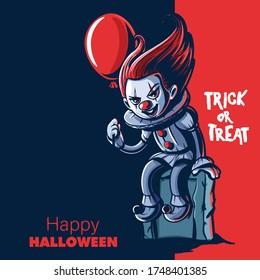 horror clown cartoon for halloween
