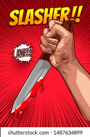 horror comic, halloween cover template, Hand holding a knife on red background, speech bubbles, doodle art, Vector illustration, you can place relevant content on the area.