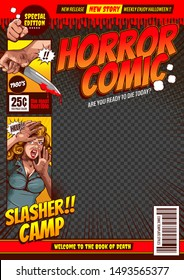 horror comic, halloween cover template background, speech bubbles, doodle art, Vector illustration.