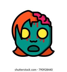Horror Emoji's - Zombie Girl