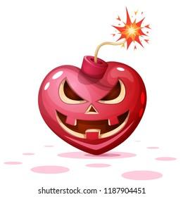 Horror, fear, halloween illustration. Heart, pumpkin bomb cartoon characters Vector eps 10