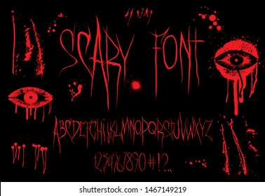 Horror Font vector Alphabet. Latin Alphabet, numbers and punctuation marks. Scary font for t-shirt and merch. English trendy alphabet. Silk screen printing for typography, clothing, fabric. Vector