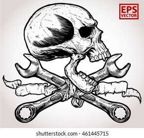 horror head skull and Crossed wrenches and old ribbon graphic vector on a white background