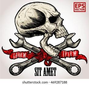 horror head skull and Crossed wrenches and old ribbon graphic vector on a white background cool color
