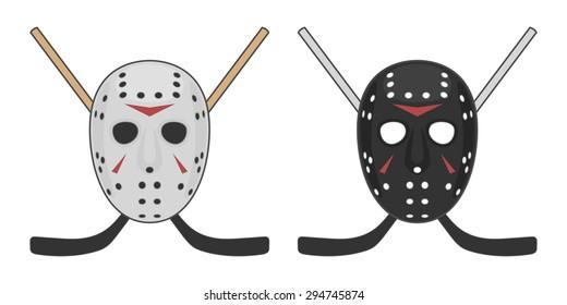 Horror Hockey Mask For Halloween Vector Design Of Black And White Helmet