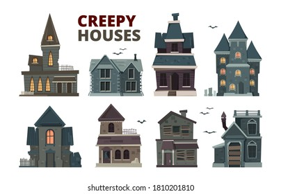 Horror house. Halloween scary gothic village buildings with spooky vector pictures set