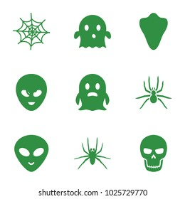 Horror icons. set of 9 editable filled horror icons such as animal fang, spider, ghost, alien head, skull