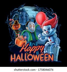 horror illustration for happy halloween