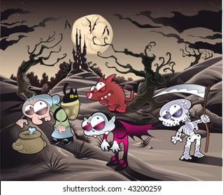 Horror landscape with characters. Cartoon and vector illustration.