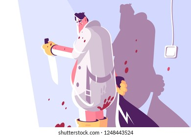 Horror maniac with knife and bag vector illustration. Man with dagger in blood spatter room flat style concept. Gloating killer holding bloody butcher poniard after killing