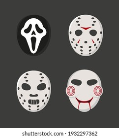 Horror movie characters masks set. Masks like ghost face, Jason Voorhees, Hannibal, Saw. Vector illustration of a set of masks for halloween.