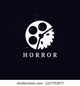 Horror movie logo concept with dark background. Saw and film scary ghost circle icon.