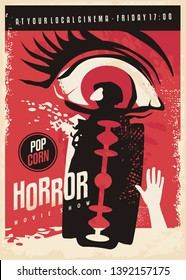 Horror movie poster design with scary eye and bloody razor blade. Retro poster vector illustration.
