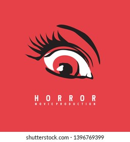 Horror movie production business logo design concept. Eye symbol drawing on red background. Vector illustration.