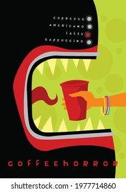 Horror movies. Coffee machine like a bloodthirsty monster. Coffeehorror. Vector image for prints, poster and illustrations.