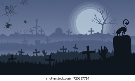 Horror Night. night landscape of graveyard Halloween design concept.