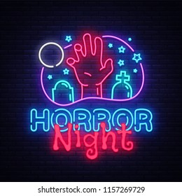 Horror Night neon sign vector. Halloween Poster Design template neon sign, Horror light banner, neon signboard, nightly bright advertising, light inscription. Vector Illustration
