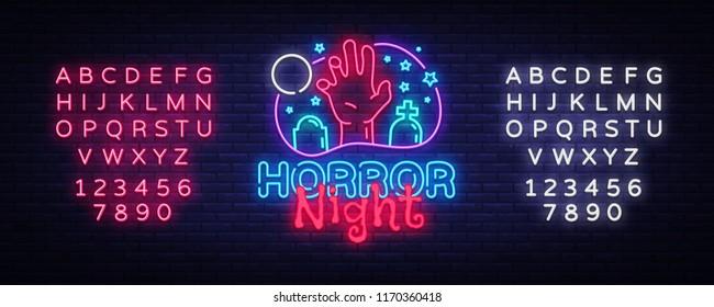 Horror Night neon sign vector. Halloween Poster Design template neon sign, Horror light banner, neon signboard, nightly bright advertising, light inscription. Vector. Editing text neon sign