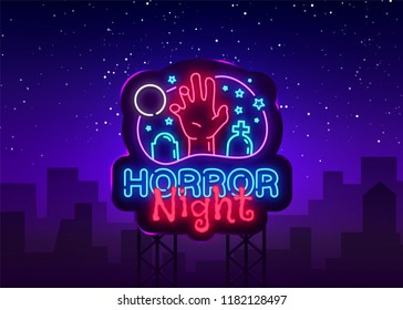 Horror Night neon sign vector. Halloween Poster Design template neon sign, Horror light banner, neon signboard, nightly bright advertising, light inscription. Vector Illustration. Billboard
