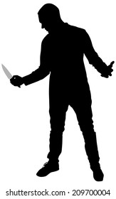 Horror Silhouette of Man with Knife