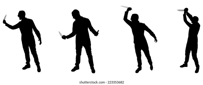 Horror Silhouette of Man with Knife, group
