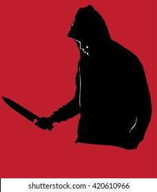 Horror Silhouette of Man with Knife Stabbing Victim, A dangerous hooded man standing on red background