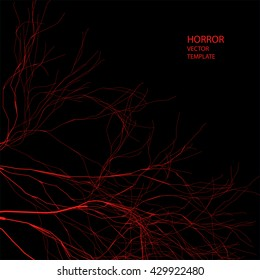 Horror vector background. Red branches.