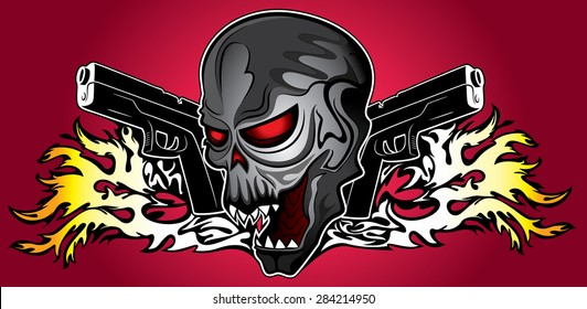 horror zombie halloween skull glock pistols fire flames background