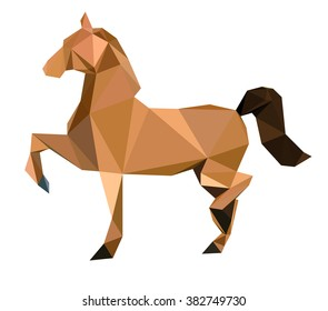 Horse abstract art polygon, low poly