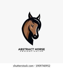 Horse abstract logo design template vector flat color