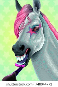 Horse is applying the lipstick on her lips. Vector illustration.