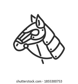 Horse in armor with a bridle, linear icon. Editable stroke