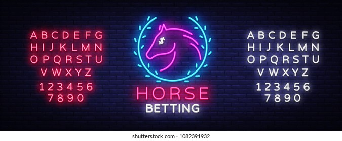 Horse Betting Neon Sign Vector. Horse Betting Logo in Neon Style, Design Template. Horse racing symbol, icon, emblem. Light banner, bright night advertising. Vector. Editing text neon sign
