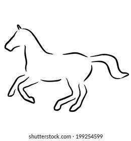 horse black line
