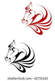 Horse black and red tattoo symbol for design isolated on white - also as emblem or logo template
