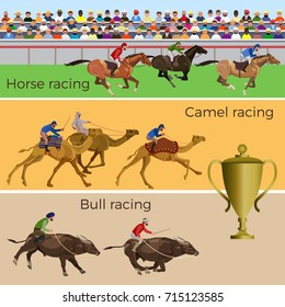 Horse, camel and bull racing. Vector illustration
