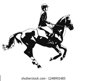 Horse cantering with a rider.