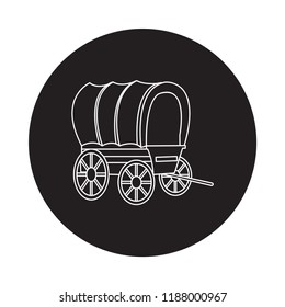 horse caravans icon with black background