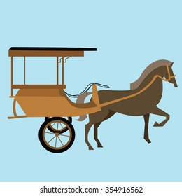 horse carriage cart asia vector delman old traditional transportation