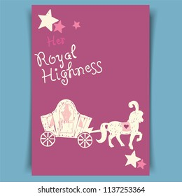 Horse  carriage , cartoon style, can be used for wedding invitation, baby shower, vector