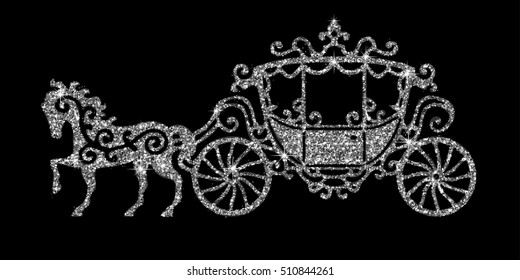 Horse carriage silver silhouette. Vector illustration. Art silver glitter icon. Creative concept for web, glow light confetti, bright sequins, sparkle tinsel, abstract bling, shimmer dust.