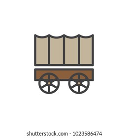 Horse carriage wagon filled outline icon, line vector sign, linear colorful pictogram isolated on white. Symbol, logo illustration. Pixel perfect vector graphics
