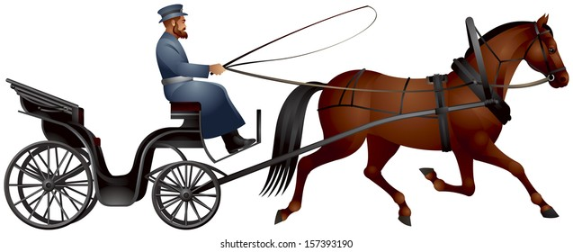 Horse cart, izvozchik, coachman on droshky, horse-drawn carriage, four-wheeled public carriages used in Russia and other countries, XIX century passenger transport, predecessor of taxi