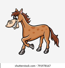 Horse cartoon character illustration. Good use for mascot, icon, sticker, sign, children book or any design you want