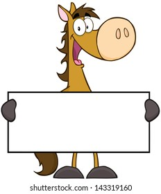 Horse Cartoon Mascot Character Holding A Banner. Vector Illustration