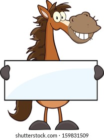 Horse Cartoon Mascot Character Holding A Banner. Vector Illustration Isolated on white