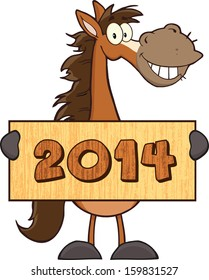 Horse Cartoon Mascot Character Holding A Wood Banner With Text. Vector Illustration Isolated on white