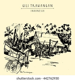 Horse carts, palm trees, house. Gili Trawangan island, West Nusa Tenggara, Indonesia, Asia. Travel sketch. Hand-drawn vintage book illustration, greeting card, postcard or poster template in vector